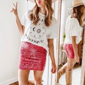 🔥NWT🔥 H&M SHIMMERY SEQUIN MINI SKIRT PINK